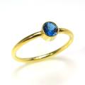 ロンドンブルートパーズ 14kgf天然石リング(指輪) ベゼル ラウンド 4mm ゴールドフィルド(1個)