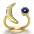 三日月 ムーン リング 惑星  指輪 天然石ラピス 4mm 真鍮ブラス・ゴールドカラー(1個)