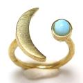 三日月 ムーン リング 惑星  指輪 天然石ラリマー 4mm 真鍮ブラス・ゴールドカラー(1個)