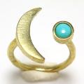 三日月 ムーン リング 惑星  指輪 ターコイズ メキシコ 4mm 真鍮ブラス・ゴールドカラー(1個)