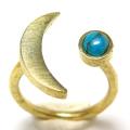 三日月 ムーン リング 惑星  指輪 天然石ターコイズチベット 4mm 真鍮ブラス・ゴールドカラー(1個)