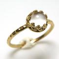 ムーンストーン 指輪 リング 天然石<6月誕生石>ハンマード ラウンド6mm 真鍮ブラス・ゴールドカラー/1個