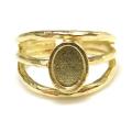 リング空枠 指輪 パーツ オーバル8×6mm(カボション用)真鍮ブラス・ゴールドカラー(1個)