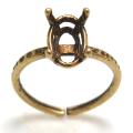 金古美 リング 空枠 石枠 指輪 ハンマード オーバル 縦 8×6mm 4本爪(真鍮ブラス・アンティークブラスカラー)2個