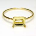 指輪 空枠 リング14kgfパーツ オクタゴン 横 6×4mm 4本爪 ゴールドフィルド (サイズ目安:11号) (1個)