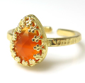 オレンジカルセドニー(染) リング指輪 天然石(カボション ローズカット ペアシェイプ・10×7mm)(真鍮ブラス・ゴールドカラー)
