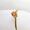14kgfリング(指輪)天然石オレンジサファイア<9月誕生石>(加熱処理・アフリカ)3mm(ラウンド)(サイズ目安:7号)「ゴールドフィルド」(1個)