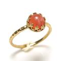 ピーチムーンストーン 指輪 リング 天然石<6月誕生石> ハンマード ラウンド6mm 真鍮ブラス・ゴールドカラー/1個
