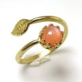 天然石ピーチムーンストーン<6月誕生石>指輪リング・リーフ(ベゼルカボションラウンド・6mm)(真鍮ブラス・ゴールドカラー)(1個)