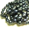淡水パール 真珠ビーズ (ピーコックブラック〜ダークブルー系) ライス(9〜10mm玉)(1連)