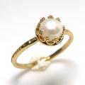 淡水パール 真珠 指輪 リング 天然石<6月誕生石> ハンマード ラウンド6mm 真鍮ブラス・ゴールドカラー/1個