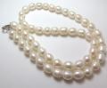 淡水パールネックレス真珠(ホワイト系)/ライス(6mm)(40cm)(1連)