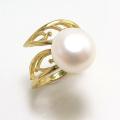 淡水パール真珠 ボタン リング指輪 (12mm) リーフ (真鍮ブラス・ゴールドカラー)(1個)