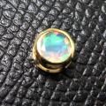 エチオピアンオパール チャーム ペンダントトップ 14kgf天然石(ラウンド5mm)ベゼル ゴールドフィルド(1個)