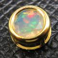 エチオピアンオパール チャーム ペンダントトップ 14kgf天然石(ラウンド6mm)ベゼル ゴールドフィルド(1個)