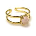 天然石ピンクカルセドニー(染)・指輪リング(カボションラウンドローズカットローズカット・5mm)(真鍮ブラス・ゴールドカラー)(1個)