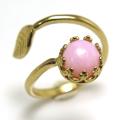 ピンクオパール 天然石<10月誕生石>指輪リング・リーフ(ベゼルカボションラウンド・6mm)(真鍮ブラス・ゴールドカラー)(1個)