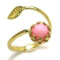 ピンクオパール ローズカット 天然石<10月誕生石>指輪リング・リーフ(ベゼルカボションラウンド・6mm)(真鍮ブラス・ゴールドカラー)(1個)