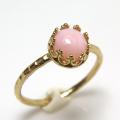ピンクオパール 指輪 リング 天然石<10月誕生石>ハンマード ラウンド6mm 真鍮ブラス・ゴールドカラー/1個