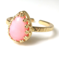 ピンクオパール リング 指輪 天然石(カボションペアシェイプ・10×7mm)(真鍮ブラス・ゴールドカラー)