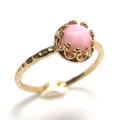 ピンクオパール ローズカット 指輪 リング 天然石<10月誕生石>ハンマード ラウンド6mm 真鍮ブラス・ゴールドカラー/1個