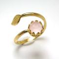 天然石カルセドニー(ピンク染)・ローズカット指輪リング・リーフ(ベゼルカボションラウンド・6mm)(真鍮ブラス・ゴールドカラー)(1個)