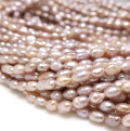 淡水真珠ビーズ パール ライス(ペールパープル~シャンパンピンク)3mm(1連)