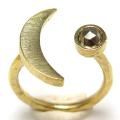 三日月 リング 惑星  指輪 天然石パイライト ローズカット 4mm 真鍮ブラス・ゴールドカラー(1個)