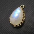 天然石 ピアスチャーム ペンダント レインボームーンストーン<6月誕生石>(ベゼルセッティング/カボション)ペア14×10mm(真鍮ブラス・ゴールドカラー)(1個)