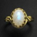 天然石指輪 レインボームーンストーン(カボションオーバル10×8mm)(真鍮ブラス・ゴールドカラー)