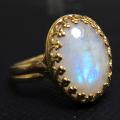 天然石指輪 レインボームーンストーン(カボションオーバル14×10mm)(真鍮ブラス・ゴールドカラー)