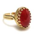 天然石レッドオニキス指輪(カボションオーバル・14×10mm)(真鍮ブラス・ゴールドカラー)(1個)