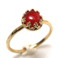 レッドオニキス 指輪 リング 天然石 ハンマード ラウンド6mm 真鍮ブラス・ゴールドカラー/1個