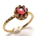 ロードライトガーネット 指輪 リング<1月誕生石>天然石 ハンマード ラウンド6mm 真鍮ブラス・ゴールドカラー/1個