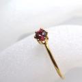 14kgfリング(指輪)天然石ロードライトガーネット<1月誕生石>3mm(ラウンド)(サイズ目安:7号)「ゴールドフィルド」(1個)