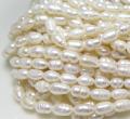淡水パール真珠(ホワイト系)ライス(4~4.5mm玉)(1連)