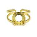 指輪リング空枠4本爪(カボション用)(ラウンド・8mm)(真鍮ブラス・ゴールドカラー)(2個)