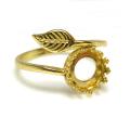 指輪リング空枠・リーフ(カボション用)(ベゼル・ラウンド・8mm)(真鍮ブラス・ゴールドカラー)(2個)