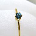 14kgfリング(指輪)天然石ブルートパーズ<11月誕生石>(ロンドンブルー)3mm(ラウンド)(サイズ目安:7号)「ゴールドフィルド」(1個)