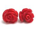 薔薇ピアス(コーラル珊瑚サンゴ)(染・レッド)14kgf ゴールドフィルド 11~12mm(1ペア)