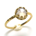 ローズクオーツ 指輪 リング チェッカーボードカット<10月誕生石> 天然石 ハンマード ラウンド6mm 真鍮ブラス・ゴールドカラー/1個