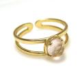 天然石ローズクオーツ<10月誕生石>・指輪リング(カボションラウンドローズカット・5mm)(真鍮ブラス・ゴールドカラー)(1個)