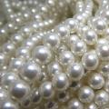 純国産ガラスパールビーズ(ミガキ)(ラウンド6mm)(ホワイト)(両穴)(40センチ)(2本)