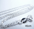 シルバー925/チェーンネックレス45cm【ダイヤカット・アズキチェーン・幅1.1mm】(2本)
