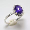 天然石アメジスト 指輪ハンマードリング<2月誕生石>(カボションオーバル・8×6mm)(真鍮ブラス・シルバーカラー)(1個)
