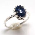 天然石ラピス  指輪ハンマードリング<12月誕生石>(カボションオーバル・8×6mm)(真鍮ブラス・シルバーカラー)(1個)