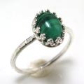 天然石マラカイト 指輪ハンマードリング(カボションオーバル・8×6mm)(真鍮ブラス・シルバーカラー)(1個)