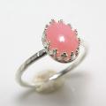 天然石ピンクオパール 指輪ハンマードリング<10月誕生石>(カボションオーバル・8×6mm)(真鍮ブラス・シルバーカラー)(1個)