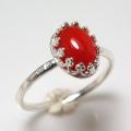 天然石レッドオニキス 指輪ハンマードリング(カボションオーバル・8×6mm)(真鍮ブラス・シルバーカラー)(1個)