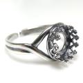銀古美 指輪リング空枠クラウン(ベゼルセッティング/カボション用)(ラウンド 8mm)(真鍮ブラス・アンティークシルバー)(2個)